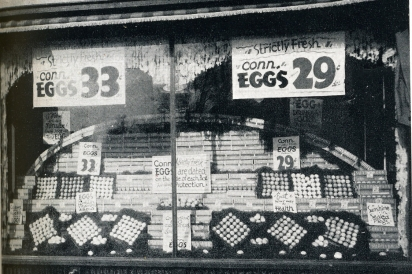 Inexpensive eggs for sale in historical setting