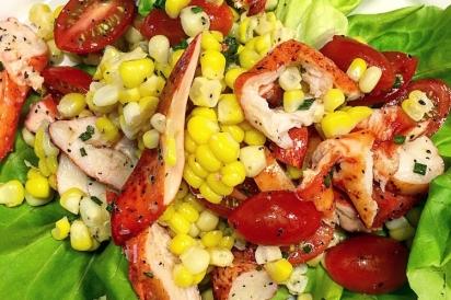 cold lobster and corn salad over Boston Bibb Lettuce