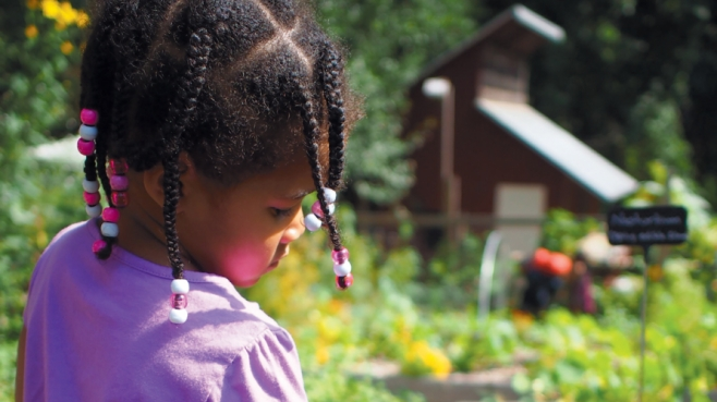 young gardener waters plants in the children's garden
