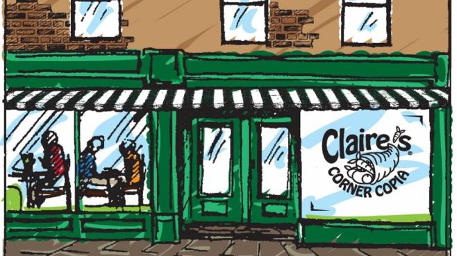 Claire's Corner Copia restaurant illustration in New Haven