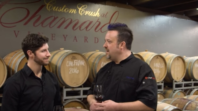 wine barrels at chamard vineyards